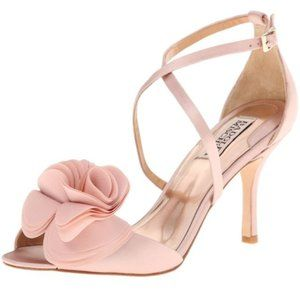 Badgley Mishka Blush Rose Petal Ankle Strap Heels